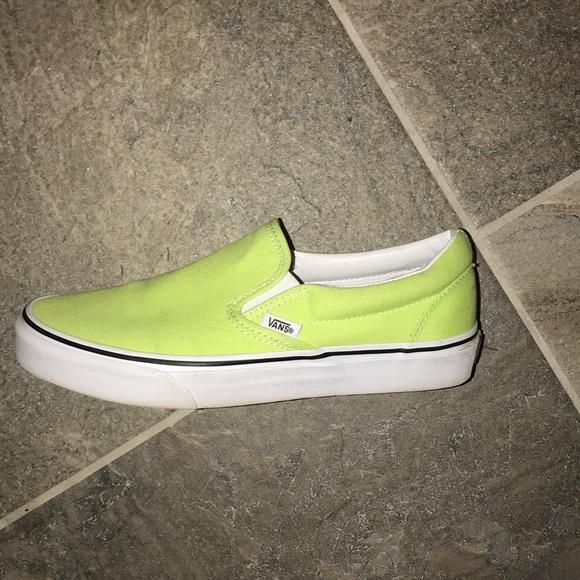 Vans Shoes   Neon Green Slip On Vans
